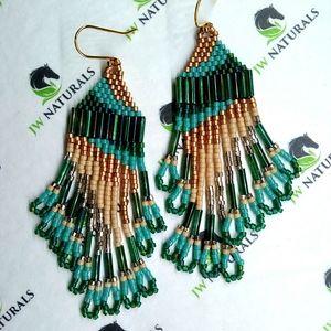 Handmade Green Camo Beaded Fringe Earrings